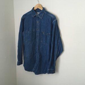 Vintage denim blue carhartt Button Up Shirt